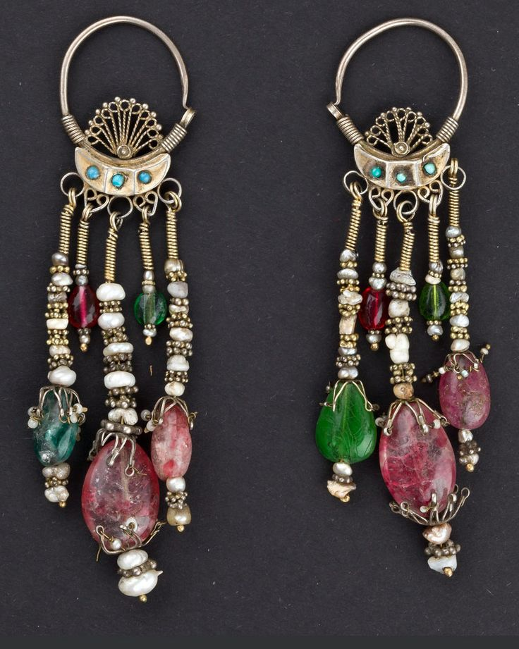 Uzbekistan | Earrings from Bukhara.  Silver, turquoise, ruby, emerald, pearls | 600€