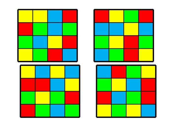Juego para trabajar la organización espacial mediante tablas de colores.