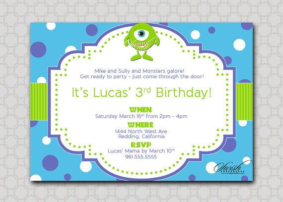 Monsters University Monsters Inc - Themed Birthday Party Invitation  Mike Sully by SwishPrintables, $15.00