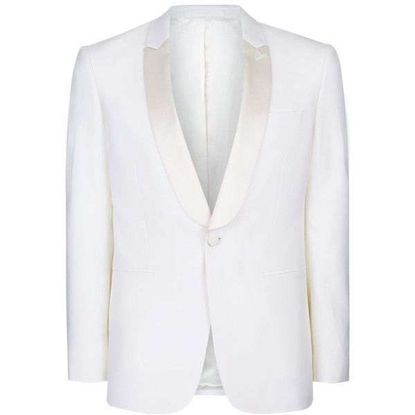 Charlie CASELY-Hayford X Topman Off White Skinny Occasion Suit Jacket ($180) ❤ liked on Polyvore featuring men's fashion, men's clothing, cream and off white mens clothing