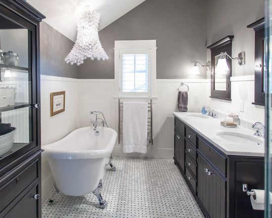 Tile wainscot replace dark wood with white and gray for Black and cream bathroom ideas