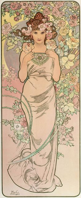 Mucha, Alphonse 'Les Fleurs-The Rose' 1898 | Flickr - Photo Sharing!