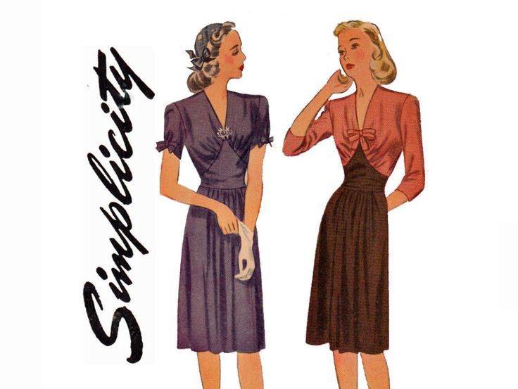 1940s Simple to Make Bust 32 Size 14 Dress UNCUT Vintage Sewing Pattern Simplicity 4850 V neckline with Inset Waistline 1943 WW2 Wartime by ViennasGrace on Etsy https://www.etsy.com/listing/256794986/1940s-simple-to-make-bust-32-size-14