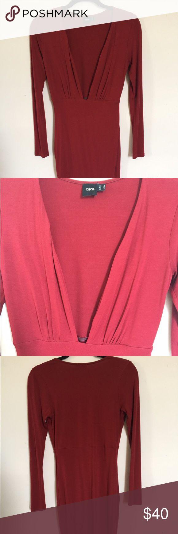 Asos Red Dress Deep V, long sleeve red Asos dress. Asos Dresses Midi