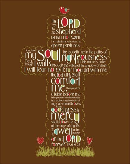Scripture Art, Psalm 23 cross - Christian art (11x14 print) BROWN background