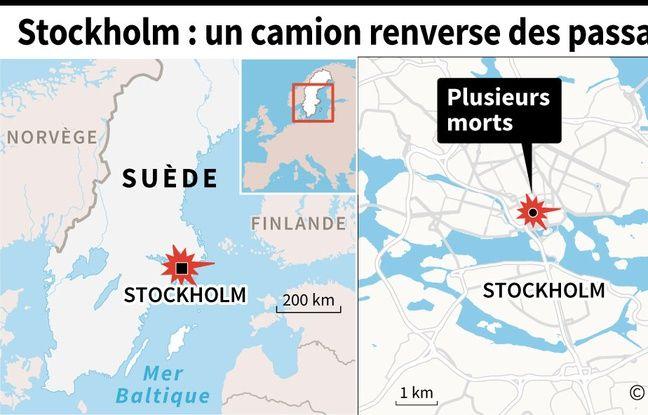 Carte de Stockholm, capitale de la Suède où le conducteur d'un camion a foncé dans la foule vendredi 7 avril 2017