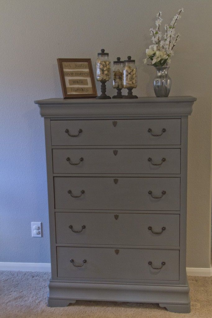 Tall hand painted grey dresser for sale!! Master bedroom?
