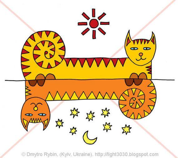 День и ночь. Инь-ян. Два кота. от ArtpictureUA на Etsy