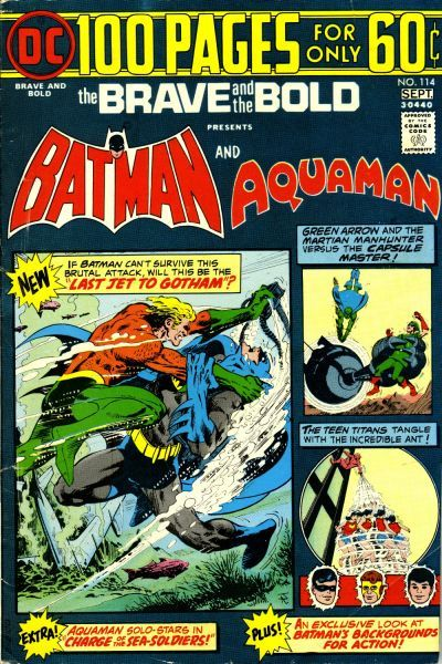 And they said the 70s were an era of inflation: NEW! Aquaman submarinates a 747. OLD! The Teen Titans vs. Ant-Boy (also by Haney); the first Bee-en-Bee teamup, not with Batman (but by Haney); an Aquaman solo story (okay, he's with Aqualad).