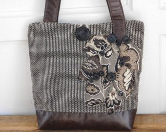 Faux Leather Tote Bag Handmade Bag Grey by BerkshireCollections
