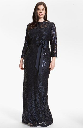 Tadashi Shoji Embellished Lace Column Gown (Plus) | Nordstrom.