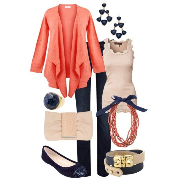 """Navy and Coral"" by maggiesuedesigns on Polyvore"