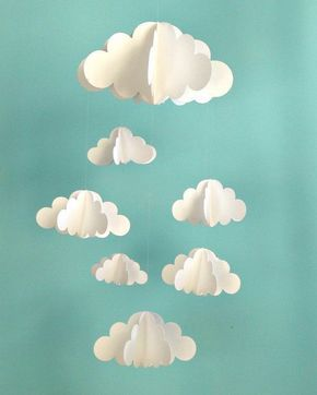 diy mobile nuage 3d en papier tableau mobile b b. Black Bedroom Furniture Sets. Home Design Ideas