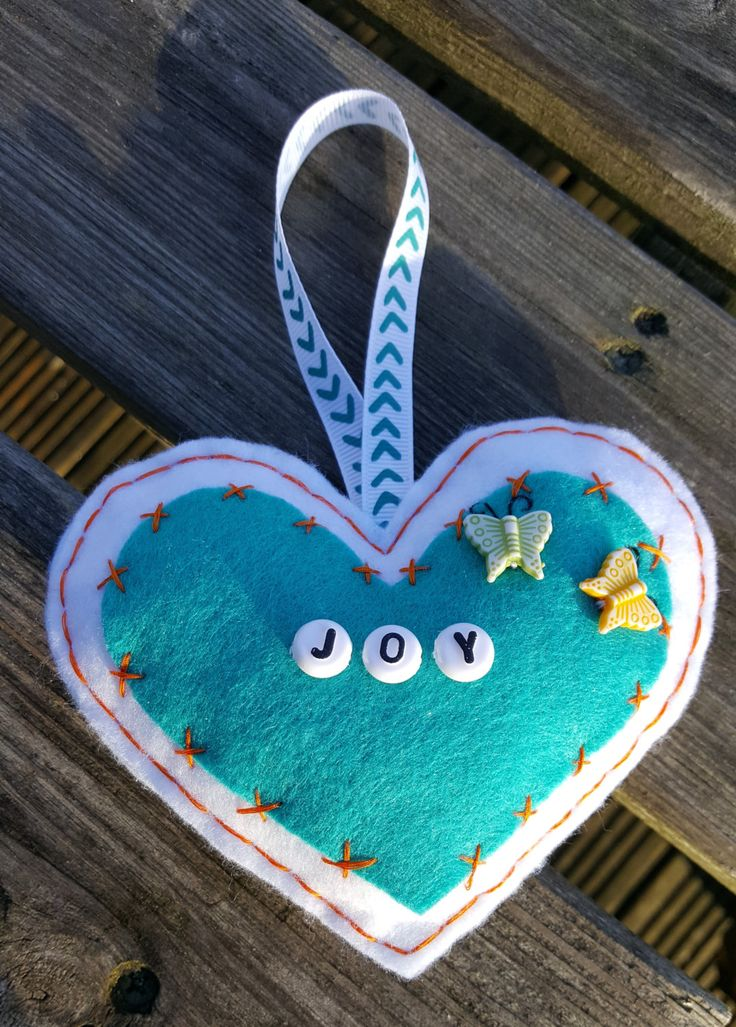 Handsewn Joy Felt Heart Decoration Teal and White by HandmadeNorfolk on Etsy