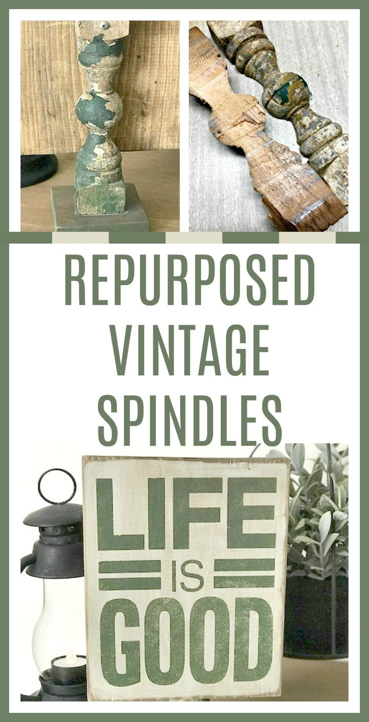 Create a pedestal for a wooden sign using these vintage spindles. Homeroad.net #repurposed