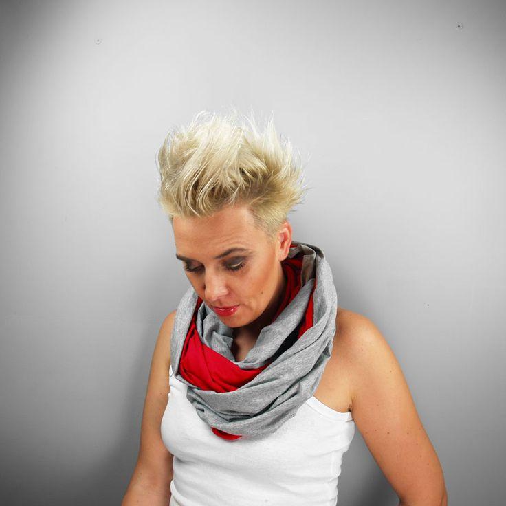 KOMIN TUBA SZAL RED #red #gray #tubescarf #tube #scarf #viscose