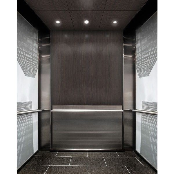 Glass Walls With Black And White Photograph Are The Bright Feature Of This Elevator  Interior Design