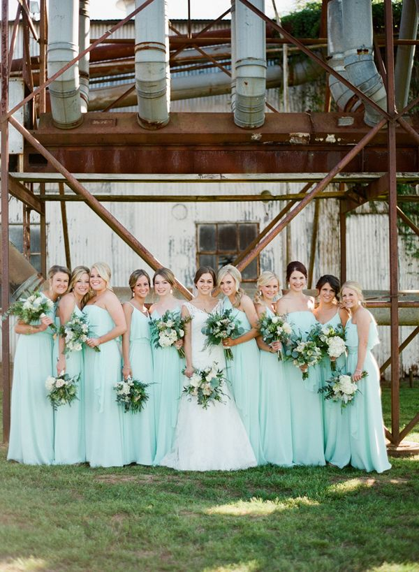 aqua bridesmaid dresses - photo by Brandi Smyth http://ruffledblog.com/industrial-wedding-in-shreveport
