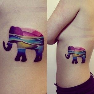 This colorful elephant: | The 26 Coolest Animal Tattoos From Russian Artist Sasha Unisex
