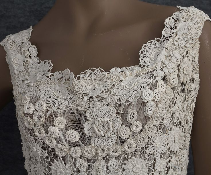 Edwardian Clothing at Vintage Textile: #2785 Irish crochet wedding dress