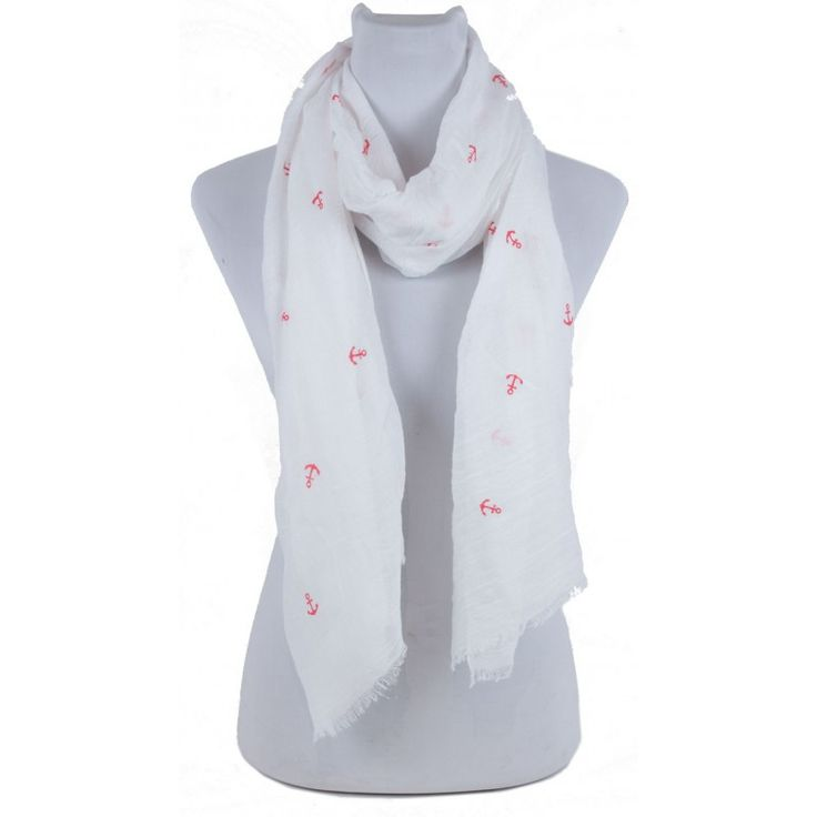 White & Red Anchor Scarf Frayed Edges