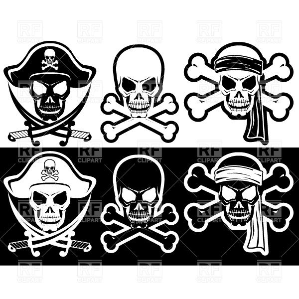 Free Vector Skull and Crossbones | ... Skull and Crossbones silhouette, download royalty-free vector clipart