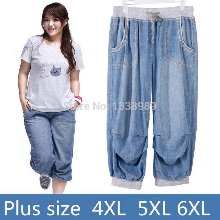 2016 летние женщины шаровары джинсы плюс размер свободные брюки для женщин джинсовые брюки Капри джинсы для женщины 6XL купить на AliExpress