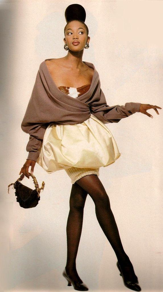 1987  Vogue UK ''Paris Couture - The New Romance''.Photographer Patrick Demarchelier, Model Naomi Campbell. Lacroix