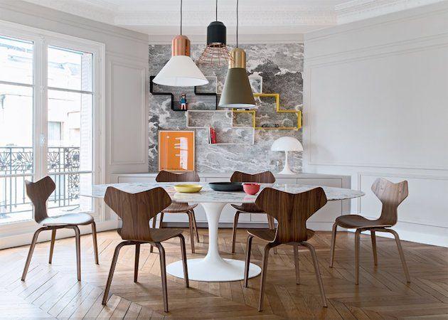 salle à manger appartement parisien parquet ancien chevron point de hongrie
