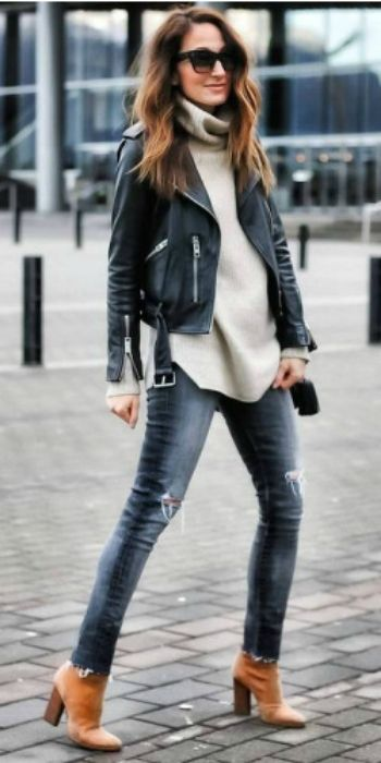 Cedar Atkins + belted leather jacket + beige turtleneck sweater + skinny denim jeans + pair of suede heeled boots + achievable + effortlessly chic  Jacket: All Saints, Jeans: Citizens of Humanity, Shoes: Alexander Wang.