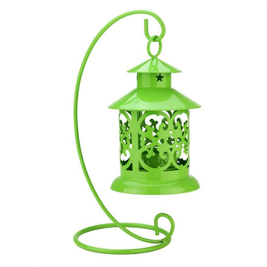 "8.75"" Shiny Green Candle Holder Mini Lantern with Hanger"