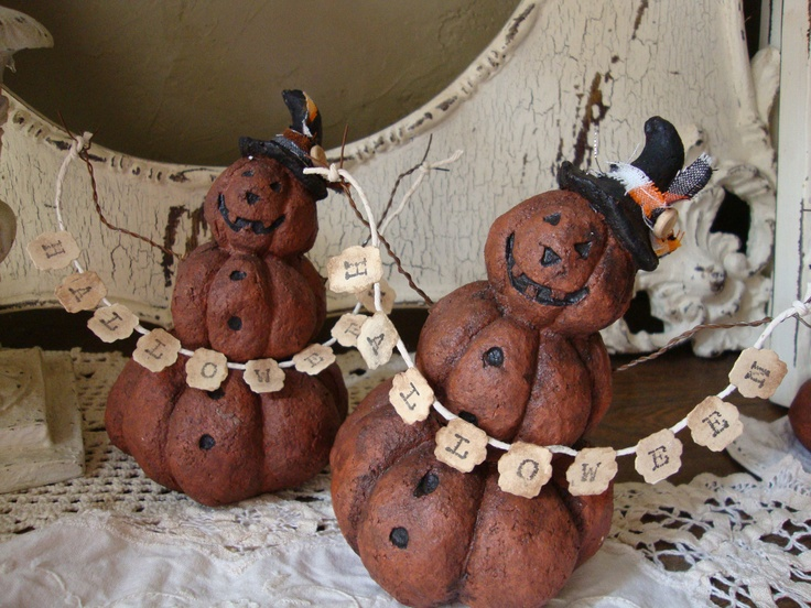 Country Halloween Pumpkin figurine with halloween sign Paper Mache Primitive pumpkin with witch hat table decoration. $15.00, via Etsy.