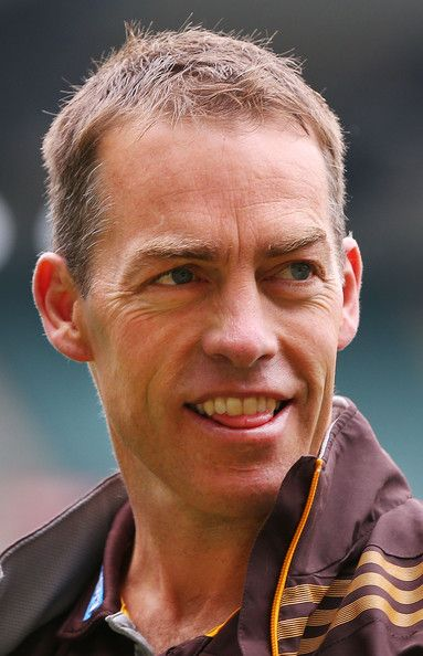 Hawks coach Alastair Clarkson looks ahead during the round nine AFL match between the Hawthorn Hawks and the Gold Coast Suns at Melbourne Cricket Ground on May 26, 2013 in Melbourne, Australia.