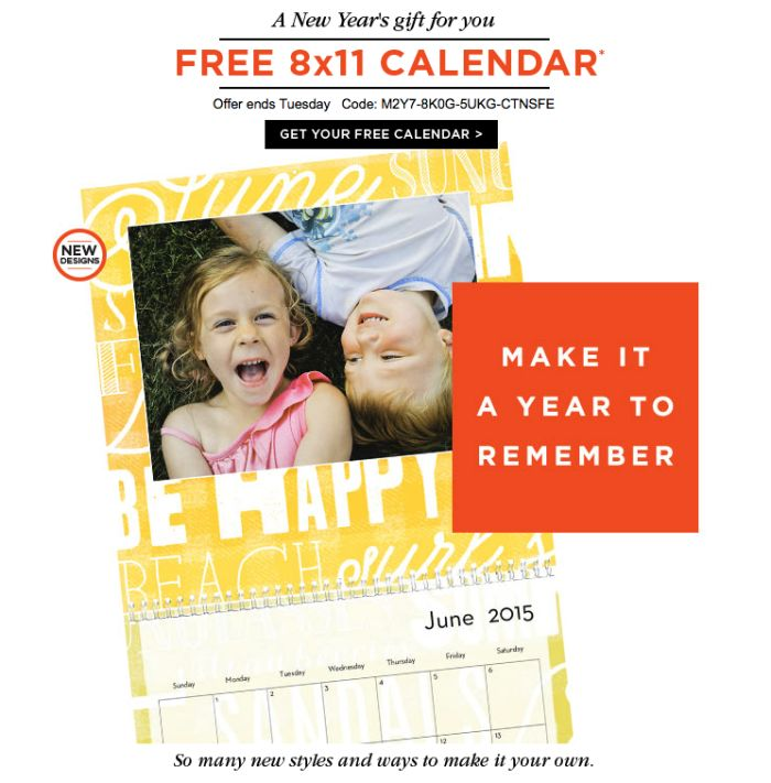 Grab a FREE calendar shutterfly is treating you to this year! Make a customized calendar and just pay for shipping and handling this year. Great gift to all