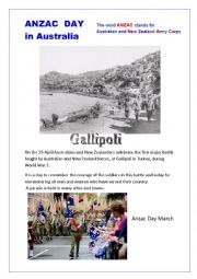 English worksheet: Anzac Day