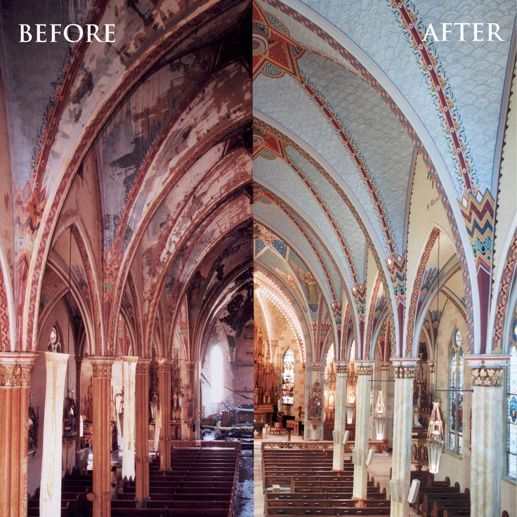 17 best images about before and after on pinterest our for Church mural restoration