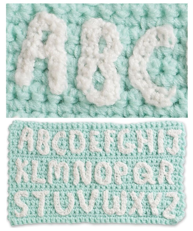 Use these crocheted alphabet letters to personalize or send a message on your creations. Each letter is two inches tall and can be sewn or applied with fabric glue - Chart  ❥ 4U // hf