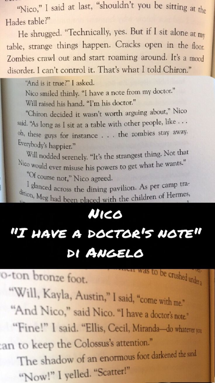 """Probably one of my favorite Solangelo moments from the books, """"I have a doctor's note"""" <3"""