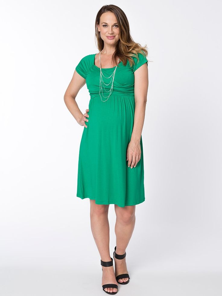 Grace Short Breastfeeding Dress from breastmates.co.nz -- Bring a burst of colour to your wardrobe with this classic green maternity dress, designed with style and comfort in mind. Ruched crossover top cleverly conceals breastfeeding openings.