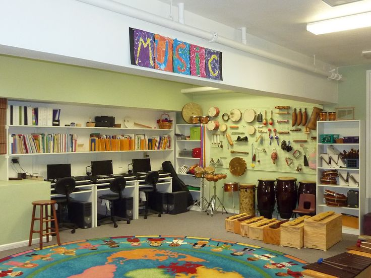 music room organization. Love the instruments on the wall!