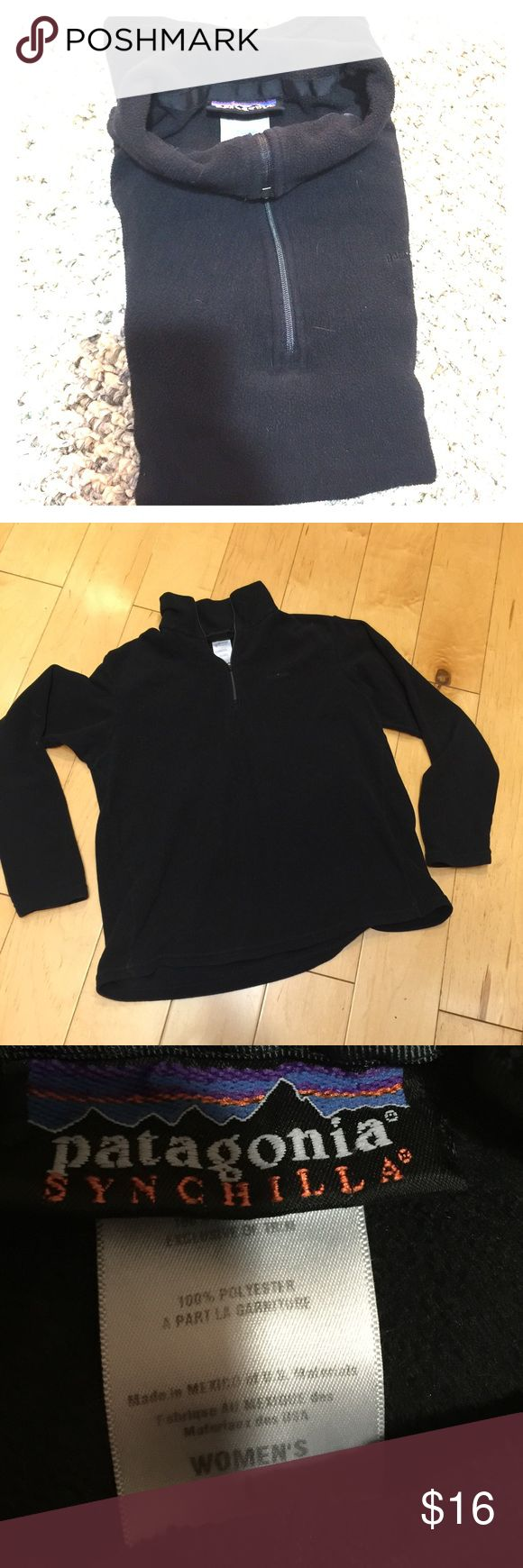 Patagonia Synchilla jacket half zip black L Patagonia Synchilla jacket. Half zipper. Black. Women's size L. Used in fair condition. No holes. Zipper works fine. Sleeves long, good for tall girls . Patagonia Tops Sweatshirts & Hoodies