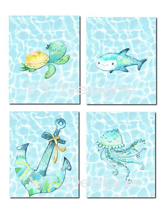 Kids Bathroom Decor Printable Bathroom Art Sea Creatures