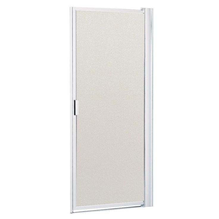 Contractors Wardrobe 30-1/8 in. to 32-1/8 in. x 63-1/2 in. Framed Pivot Shower Door in Bright Clear with Rain Glass
