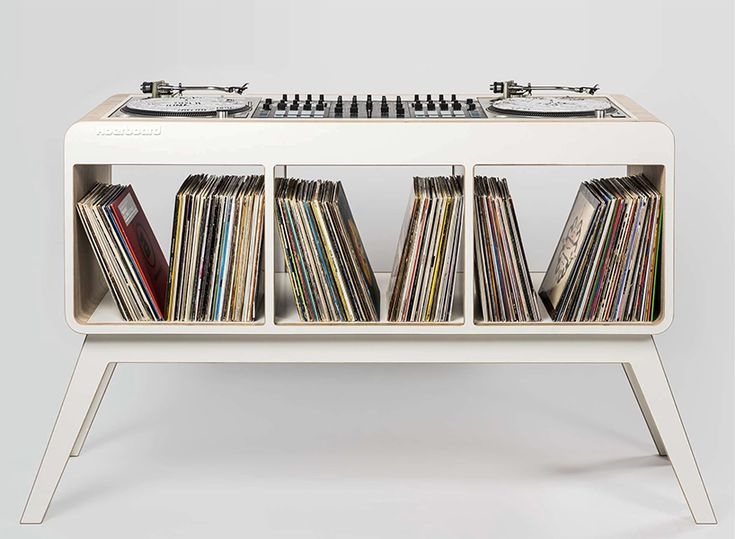 the 'Com.Four' DJ stand from hoerboard combines evocative 1960's design with functionality and storage space. designed as a sideboard, the retro-styled workstation can offer space for 350 records.