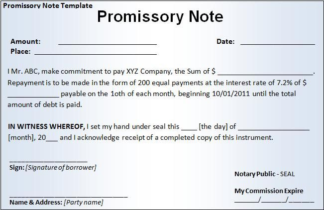Free Printable Promissory Note Template | Promissory Note Form