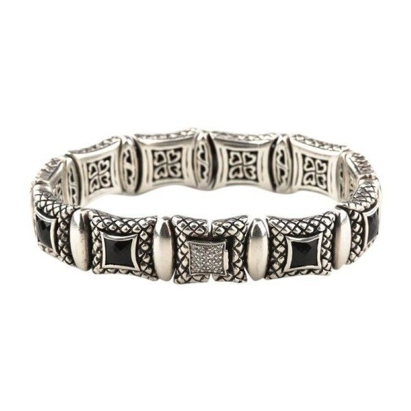 Pre-owned Scott Kay 925 Silver Onyx & Diamond Equestrian Bracelet ($1,124) ❤ liked on Polyvore featuring jewelry, bracelets, silver jewellery, silver diamond jewelry, scott kay jewelry, onyx jewelry and scott kay