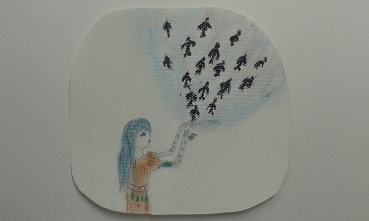 Girl and birds . I draw this picture. Tosiolinda01