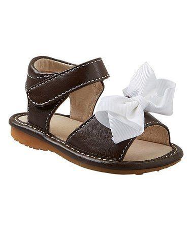 892f0e72bc Brown   White Add-a-Bow Squeaker Sandal - Girls  zulily  zulilyfinds ...