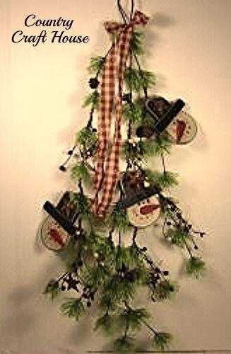 New Primitive Country Christmas SNOWMAN BERRY PINE SWAG Door Wreath