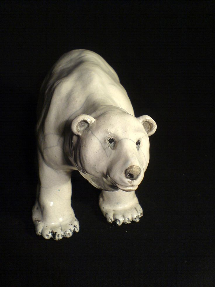 Raku sculpture - polar bear